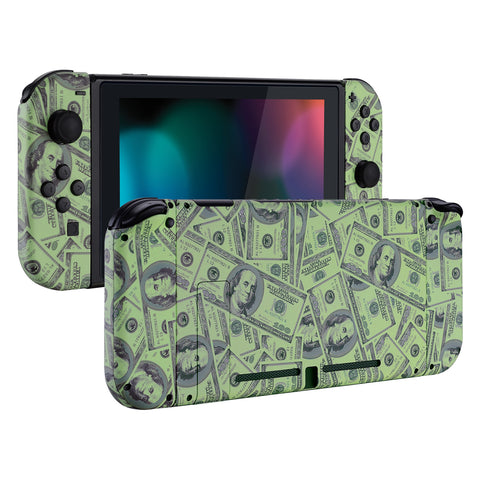 Soft Touch Grip 100$ Cash Money Patterned Back Plate for Nintendo Switch Console, NS Joycon Handheld Controller Housing with Full Set Buttons, DIY Replacement Shell for Nintendo Switch- QS204