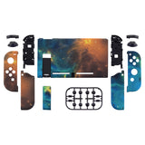 Soft Touch Grip Gold Star Universe Back Plate for Nintendo Switch Console, NS Joycon Handheld Controller Housing with Full Set Buttons, DIY Replacement Shell for Nintendo Switch - QT102