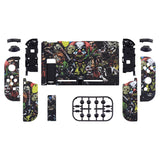 Soft Touch Scary Party Patterned Handheld Console Back Plate, Joycon Handheld Controller Housing Shell With Full Set Buttons DIY Replacement Part for Nintendo Switch - QT108