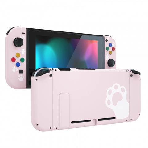 Sakura Pink Cat Paw Back Plate for Nintendo Switch Console, NS Joycon Handheld Controller Housing with Colorful Buttons, DIY Replacement Shell for Nintendo Switch - QT110