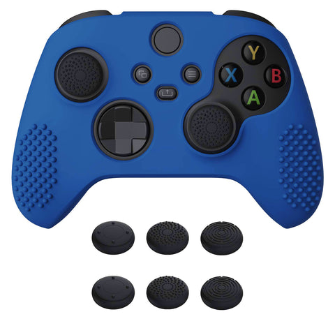 Blue 3D Studded Edition Anti-slip Silicone Cover Skin for Xbox Series X Controller, Soft Rubber Case Protector for Xbox Series S Controller with 6 Black Thumb Grip Caps - SDX3008