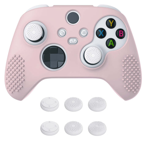 Pink 3D Studded Edition Anti-slip Silicone Cover Skin for Xbox Series X Controller, Soft Rubber Case Protector for Xbox Series S Controller with 6 Black Thumb Grip Caps - SDX3005