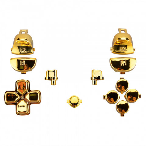 Chrome Gold Full Set Kit Buttons for Dualshock PS4 Pro Slim Controller CUH-ZCT2 JDM-040 JDM-050 JDM-055 - SP4J0109