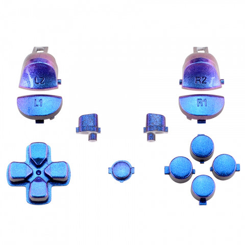 Purple Blue Chameleon Full Set Buttons L1R1 L2R2 Dpad Replacement Parts for PS4 Slim Pro Game Controller CUH-ZCT2 JDM-040 JDM-050 JDM-055 - SP4J0122