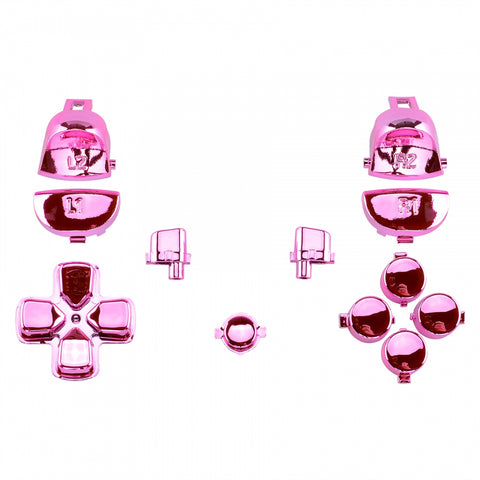Chrome Pink Full Set Buttons Dpad L1R1 L2R2 for Dualshock 4 PS4 Pro Slim Controller CUH-ZCT2 JDM-040 JDM-050 JDM-055 - SP4J0123