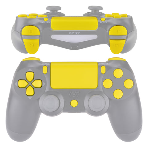 Replacement D-pad R1 L1 R2 L2 Triggers Touchpad Action Home Share Options Buttons, Yellow Full Set Buttons Repair Kits with Tool for PlayStation 4 PS4 Slim PS4 Pro CUH-ZCT2 Controller - SP4J0408