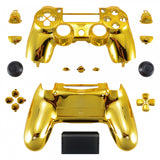 Chrome Gold Replacement Full Set Houaing Shell Facaplate Buttons for Playstation 4 PS4 Slim PS4 Pro Controller (CUH-ZCT2 JDM-040 JDM-050 JDM-055) - SP4QD01