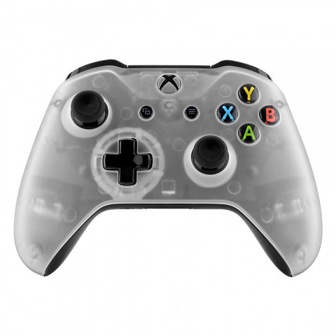 Foggy Clear Faceplate Cover, Soft Touch Front Housing Shell Case, Comfortable Soft Grip Replacement Kit for Xbox One S & Xbox One X Controller - SXOFM02X