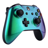 Green and Purple Chameleon Faceplate Cover, Front Housing Shell Case Replacement Kit for Xbox One X & One S Controller (Model 1708) - SXOFP19
