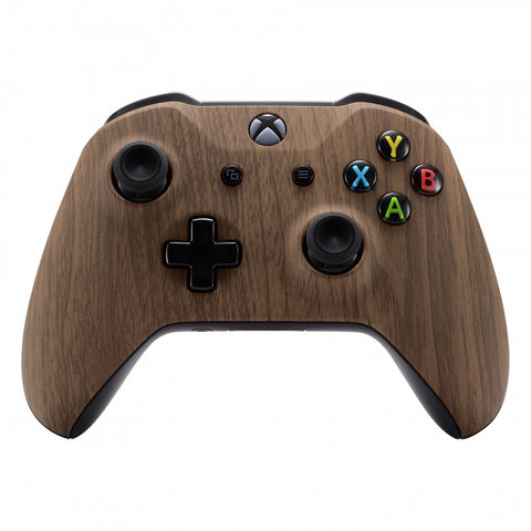Custom Wood Grain Soft Touch Top Housing Shell for Xbox One X & One S Controller - SXOFS01