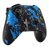 Blue Coating Splash Patterned Front Housing Shell Case, Soft Touch Grip Faceplate Cover Replacement Kit for Xbox One S & One X Controller (Model 1708) - SXOFS07