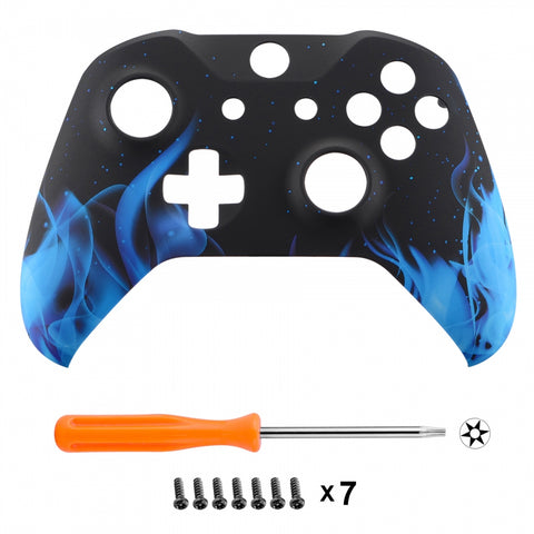 Blue Flame Faceplate Cover Soft Touch Front Housing Shell Comfortable Soft Grip Replacement Kit for Microsoft Xbox One X & One S Controller - SXOFT12X