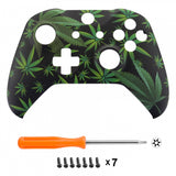 Green Weeds Soft Touch Grip Front Housing Shell, Comfortable Faceplate Cover Replacement Kit for Xbox One S & Xbox One X Controller - SXOFT23X