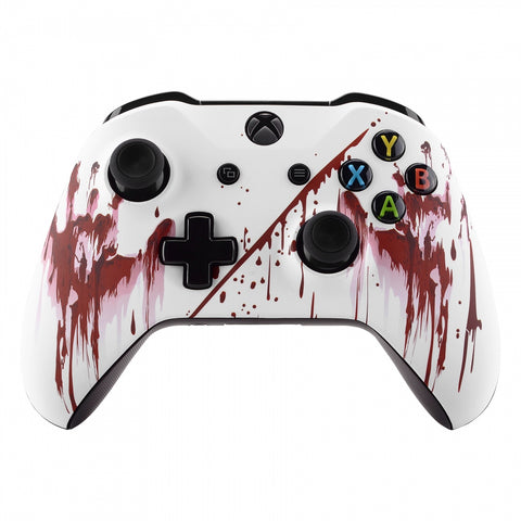 Bloody Hand Patterned Front Housing Shell Case, Soft Touch Faceplate Cover Replacement Kit for Xbox One S & One X Controller (Model 1708) - SXOFT45X