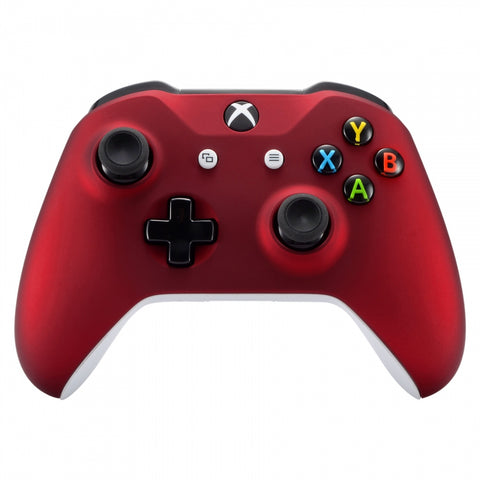 Red Faceplate Cover, Soft Touch Front Housing Shell Case, Comfortable Soft Grip Replacement Kit for Microsoft Xbox One X & One S Controller - SXOFX01