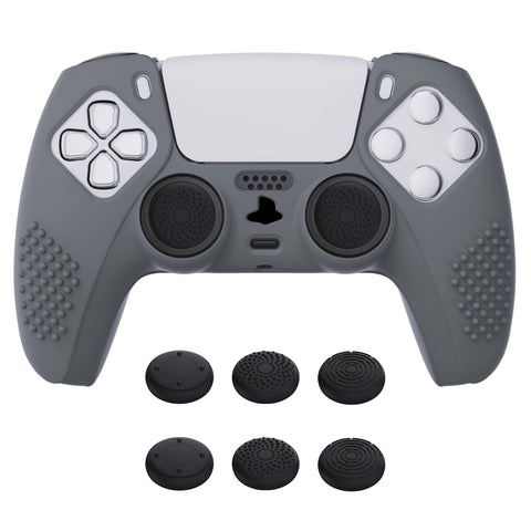 Gray 3D Studded Edition Anti-slip Silicone Cover Skin for PlayStation 5 Controller, Soft Rubber Case Protector for PS5 Wireless Controller with 6 Black Thumb Grip Caps - TDPF006