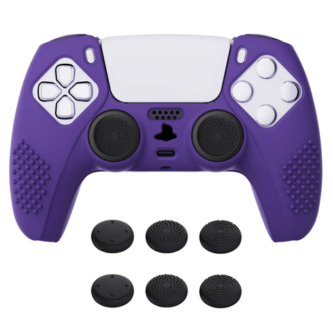 Purple 3D Studded Edition Anti-slip Silicone Cover Skin for PlayStation 5 Controller, Soft Rubber Case Protector for PS5 Wireless Controller with 6 Black Thumb Grip Caps - TDPF007