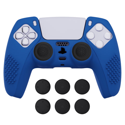 Blue 3D Studded Edition Anti-slip Silicone Cover Skin for PlayStation 5 Controller, Soft Rubber Case Protector for PS5 Wireless Controller with 6 Black Thumb Grip Caps - TDPF008