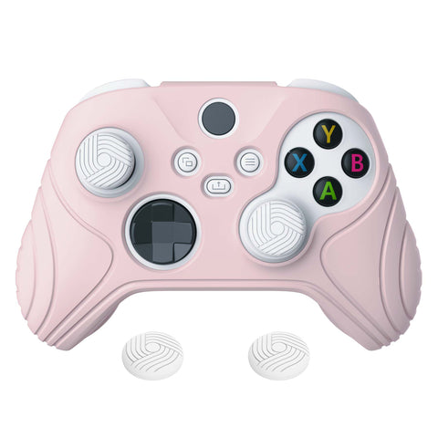 Samurai Edition Pink Anti-slip Controller Grip Silicone Skin, Ergonomic Soft Rubber Protective Case Cover for Xbox Series S/X Controller with White Thumb Stick Caps - WAX3005