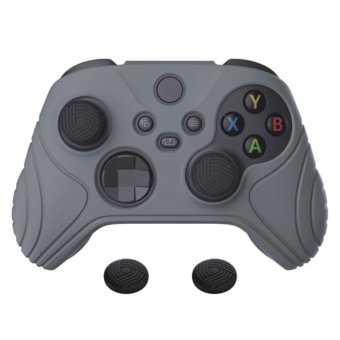 Samurai Edition Gray Anti-slip Controller Grip Silicone Skin, Ergonomic Soft Rubber Protective Case Cover for Xbox Series S/X Controller with Black Thumb Stick Caps - WAX3006
