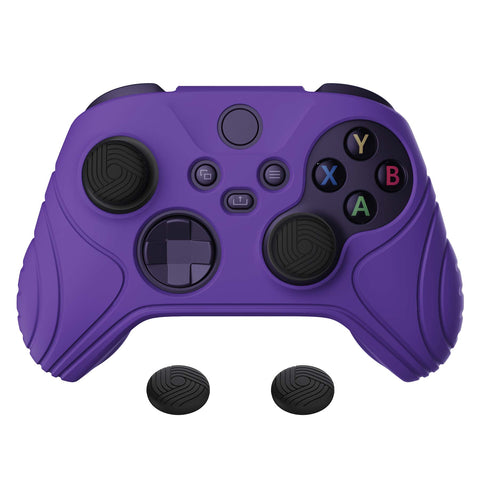 Samurai Edition Purple Anti-slip Controller Grip Silicone Skin, Ergonomic Soft Rubber Protective Case Cover for Xbox Series S/X Controller with Black Thumb Stick Caps - WAX3007