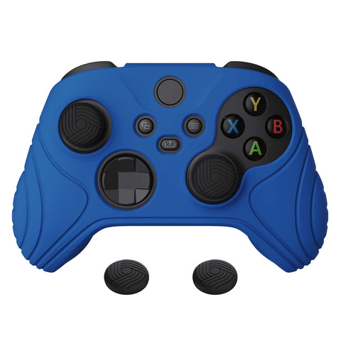 Samurai Edition Blue Anti-slip Controller Grip Silicone Skin, Ergonomic Soft Rubber Protective Case Cover for Xbox Series S/X Controller with Black Thumb Stick Caps - WAX3008