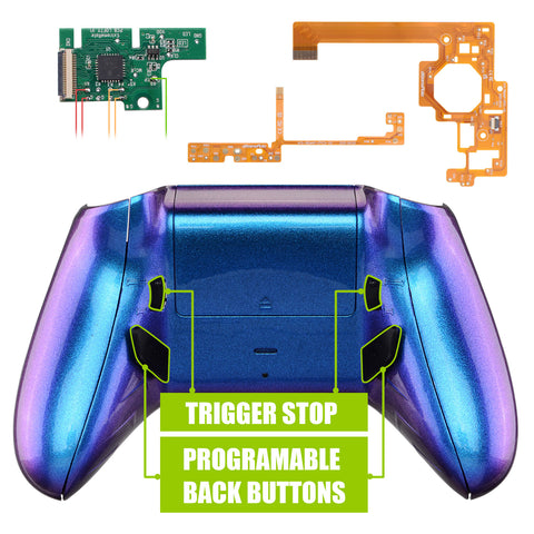 Lofty Programable Remap & Trigger Stop Kit, Redesigned Back Shell & Side Rails & Back Buttons & Trigger Lock for Xbox One S X Controller 1708 - Chameleon Purple Blue - X1RM005