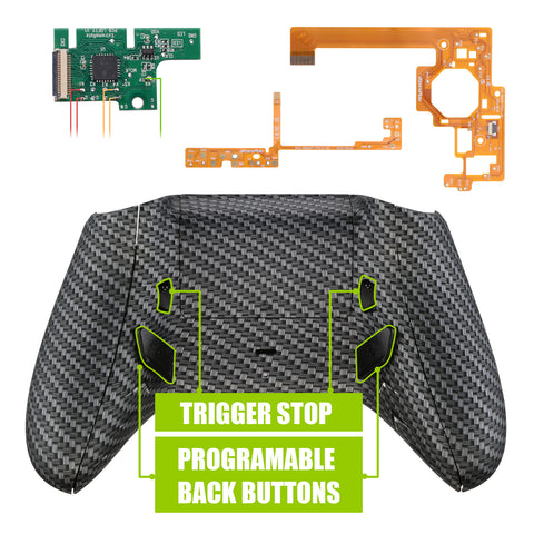 Lofty Programable Remap & Trigger Stop Kit, Redesigned Back Shell & Side Rails & Back Buttons & Trigger Lock for Xbox One S X Controller 1708 - Black Silver Carbon Fiber - X1RM007