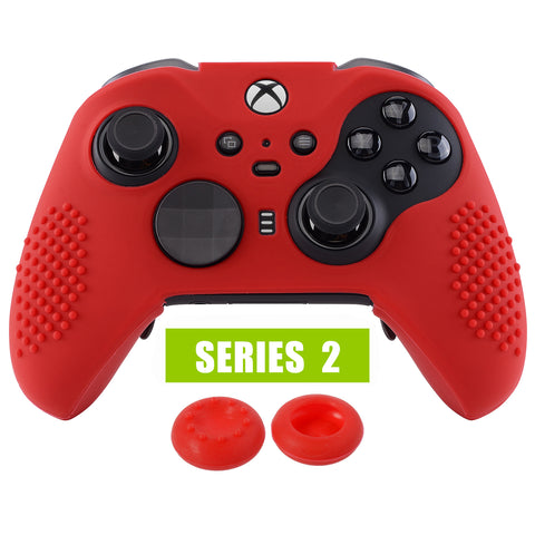 Red Soft Anti-Slip Silicone Cover Skins, Controller Protective Case for New Xbox One Elite Series 2 with Thumb Grips Analog Caps -XBOWP0043GC