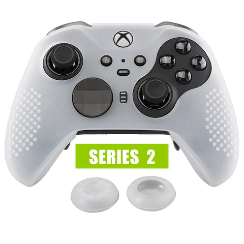 Semi-Transparent Clear Soft Anti-Slip Silicone Cover Skins, Controller Protective Case for New Xbox One Elite Series 2 with Thumb Grips Analog Caps -XBOWP0046GC