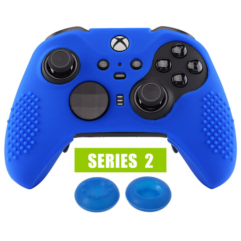Blue Soft Anti-Slip Silicone Cover Skins, Controller Protective Case for New Xbox One Elite Series 2 with Thumb Grips Analog Caps -XBOWP0047GC