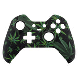 Green Weeds Leaves Faceplate Cover Soft Touch Front Shell Comfortable Soft Grip Replacement Kit for Xbox One Elite Controller Model 1698 with Thumbstick Accent Rings - XOET008