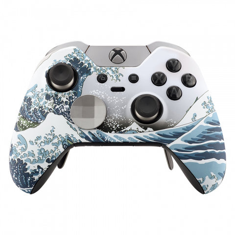 The Great Wave Patterned Soft Touch Front Housing Shell Faceplate for Microsoft Xbox One Elite Controller Model 1698 with Thumbstick Accent Rings - XOET015