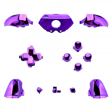 Custom Chrome Purple Full Set Buttons Kits Replacements For Xbox One Controller - XOJ0806