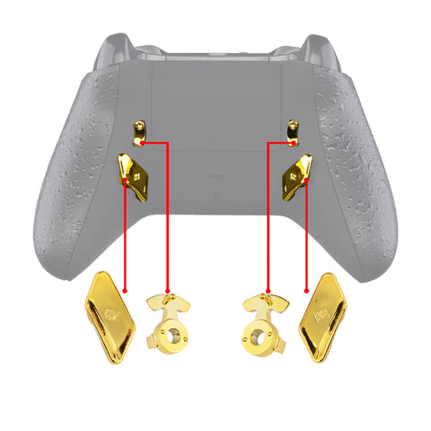 Chrome Gold Glossy Replacement Redesigned Back Buttons HK3 HK4 Trigger lock K1 K2 Paddles for eXtremeRate Xbox One S X Controller LOFTY Remap & Trigger Stop Kit - XOMD0032