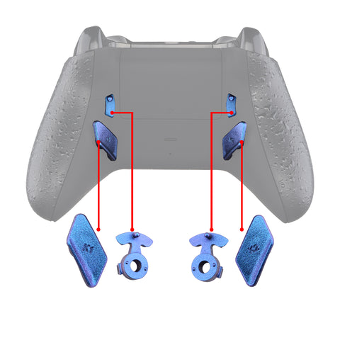 Chameleon Purple Blue Glossy Replacement Redesigned Back Buttons HK3 HK4 Trigger lock K1 K2 Paddles for eXtremeRate Xbox One S X Controller LOFTY Remap & Trigger Stop Kit - XOMD0034