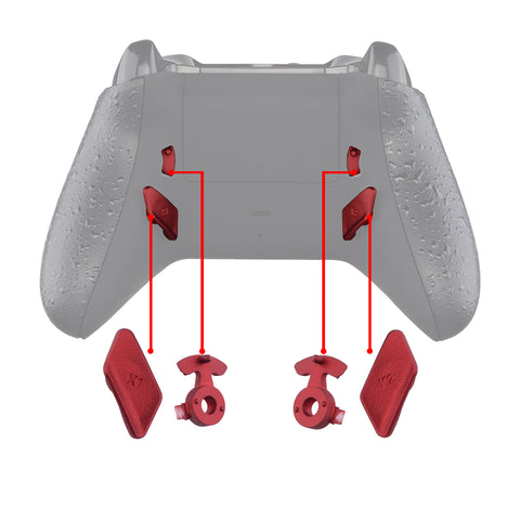 Scarlet Red Soft Touch Grip Replacement Redesigned Back Buttons HK3 HK4 Trigger lock K1 K2 Paddles for eXtremeRate Xbox One S X Controller LOFTY Remap & Trigger Stop Kit - XOMD0035
