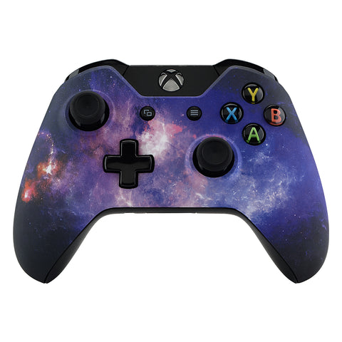 Nebula Galaxy Patterned Faceplate Cover, Soft Touch Front Housing Shell Case, Comfortable Soft Grip Replacement Kit for Standard Xbox One Controller Model 1537/1697 - XOT054
