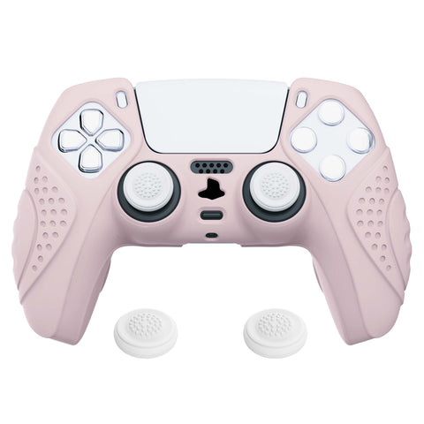 Guardian Edition Pink Ergonomic Soft Anti-slip Controller Silicone Case Cover, Rubber Protector Skins with White Joystick Caps for PS5 Controller - YHPF005