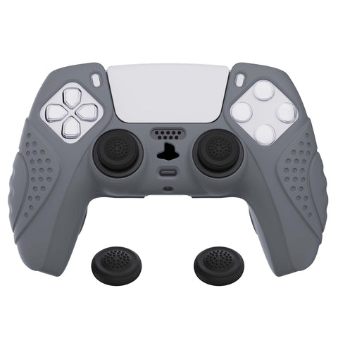 Guardian Edition Gray Ergonomic Soft Anti-slip Controller Silicone Case Cover, Rubber Protector Skins with Black Joystick Caps for PS5 Controller - YHPF006