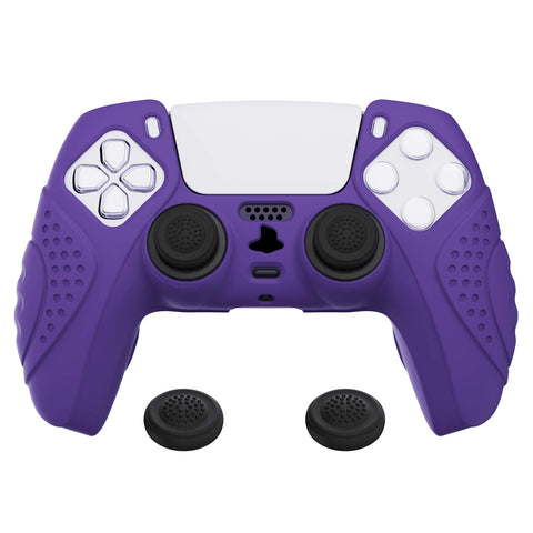 Guardian Edition Purple Ergonomic Soft Anti-slip Controller Silicone Case Cover, Rubber Protector Skins with Black Joystick Caps for PS5 Controller - YHPF007