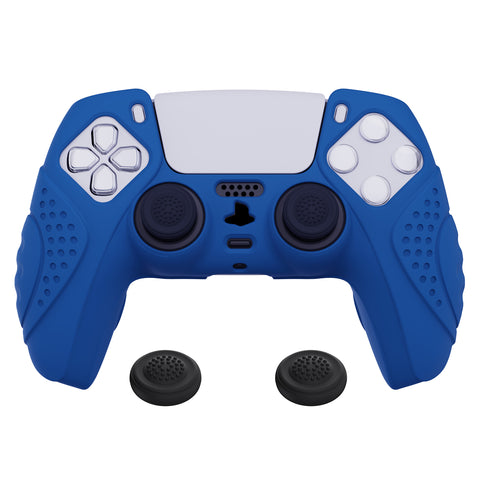 Guardian Edition Blue Ergonomic Soft Anti-slip Controller Silicone Case Cover, Rubber Protector Skins with Black Joystick Caps for PS5 Controller - YHPF008
