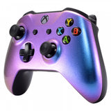 Chameleon Purple Blue Top Shell Front Housing Faceplate Replacement Parts with Side Rails Back Panel for Microsoft Xbox One X & Xbox One S Controller - ZSXOFP01