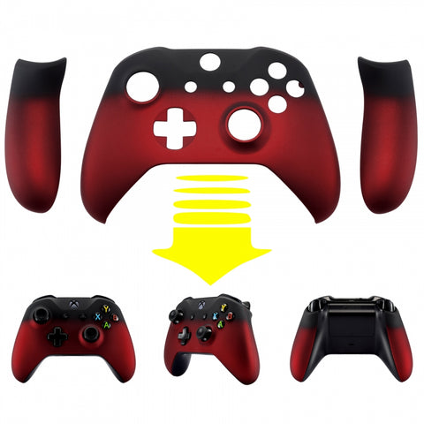 Shadow Red Front Shell Housing Faceplates Back Panels for Xbox One X & One S Controller - ZSXOFX10