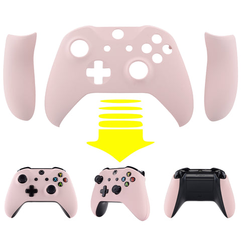 Soft Touch Sakura Pink Top Shell Front Housing Faceplate Replacement Parts with Side Rails Panel for Xbox One X & One S Controller (Model 1708) - ZSXOFX12