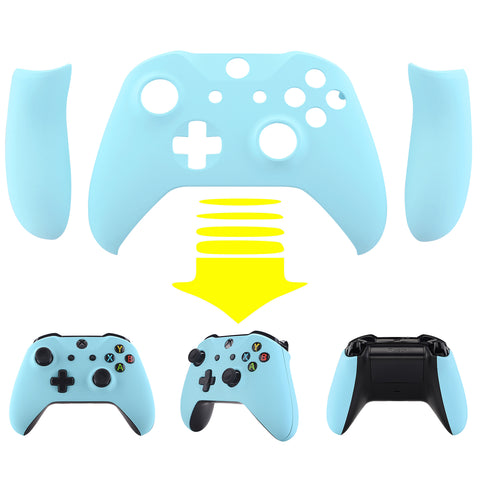 Soft Touch Heaven Blue Top Shell Front Housing Faceplate Replacement Parts with Side Rails Panel for Xbox One X & One S Controller (Model 1708) - ZSXOFX13