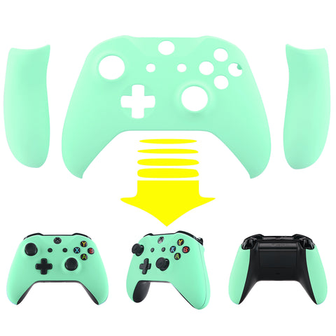Soft Touch Mint Green Top Shell Front Housing Faceplate Replacement Parts with Side Rails Panel for Xbox One X & One S Controller (Model 1708) - ZSXOFX14