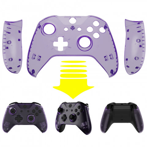 Transparent Clear Atomic Purple Top Shell Front Housing Faceplate Replacement Parts with Side Rails Panel for Xbox One X & One S Controller (Model 1708) - ZSXOFX17