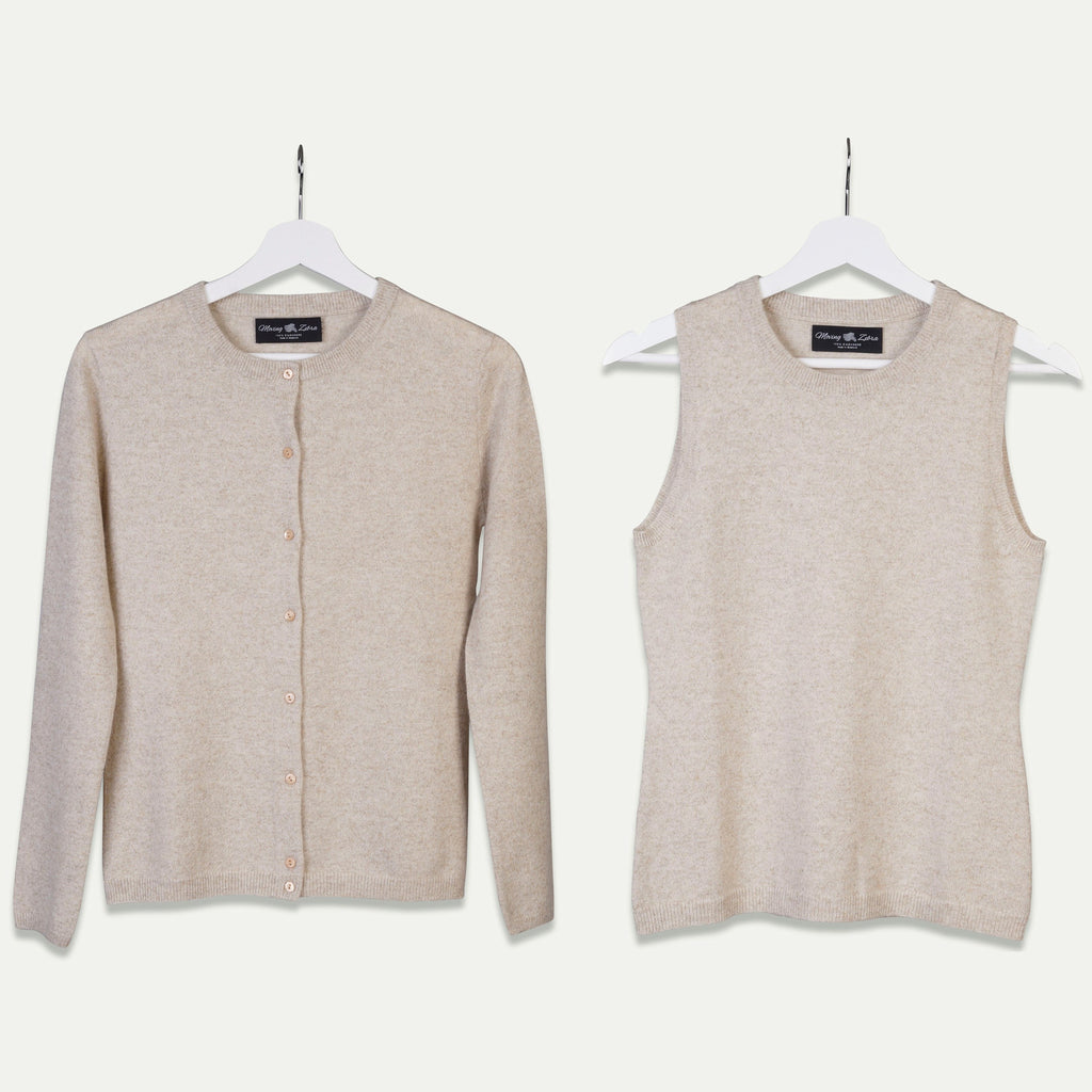 cashmere twin set beige