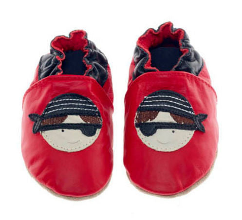Jack & Lily Originals soft sole leather shoes Pirate Red 2 - 3 years